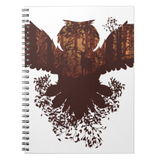 Owl and Autumn Forest Landscape Notebook