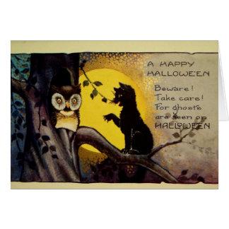 Owl and Black Cat Halloween Warning Card