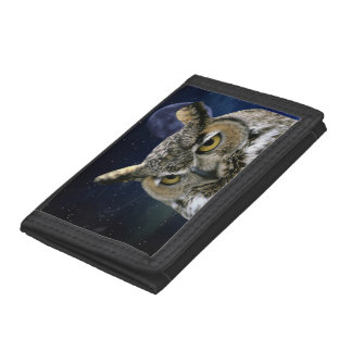 Owl and Blue Moon Trifold Wallet