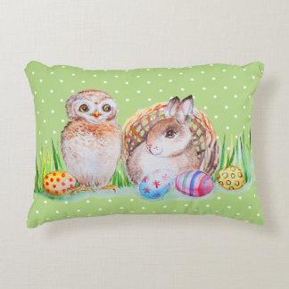 Owl and bunny Easter art Decorative Cushion