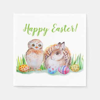 Owl and bunny Easter art Paper Napkin