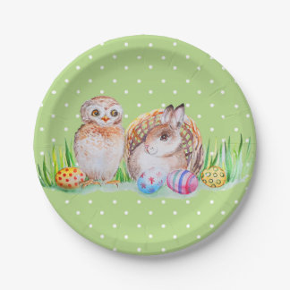 Owl and bunny Easter art Paper Plate