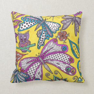 Owl and butterflies doodle on yellow background throw cushions