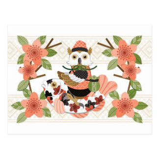 Owl and carp (rimeiku) /An owl and a carp (remake) Postcard