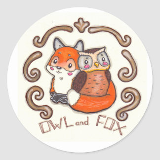 Owl and Fox sticker