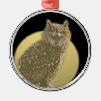 Owl and Full Moon Silver-Colored Round Decoration