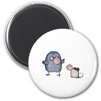Owl and Mouse Whimsical Art Magnet