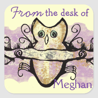 Owl and music bars square sticker