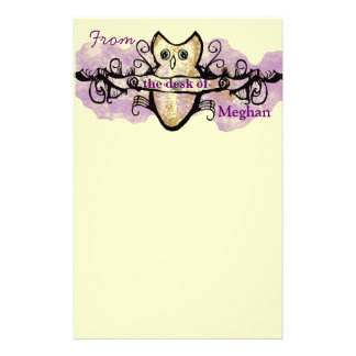 Owl and music bars stationery paper
