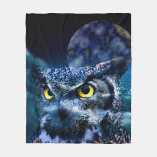 Owl and Night Sky Fleece Blanket