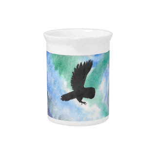 Owl And Northern Lights Drink Pitcher