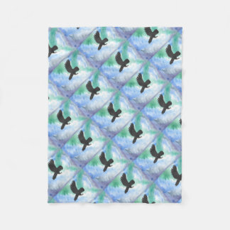 Owl And Northern Lights Fleece Blanket