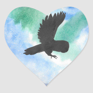 Owl And Northern Lights Heart Sticker