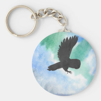 Owl And Northern Lights Key Ring