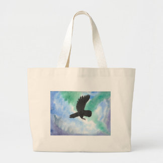 Owl And Northern Lights Large Tote Bag