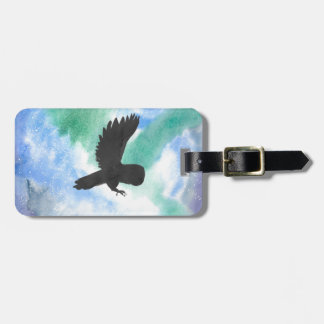 Owl And Northern Lights Luggage Tag
