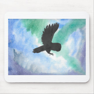 Owl And Northern Lights Mouse Pad