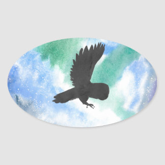 Owl And Northern Lights Oval Sticker