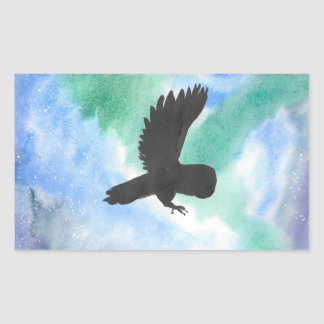 Owl And Northern Lights Rectangular Sticker