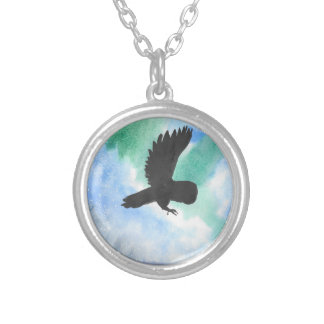 Owl And Northern Lights Silver Plated Necklace
