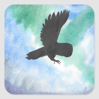 Owl And Northern Lights Square Sticker