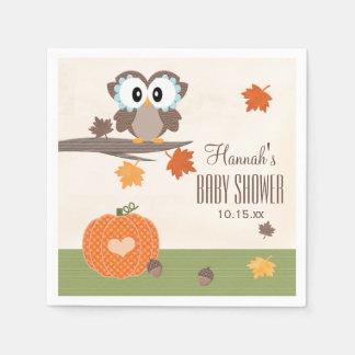 Owl and Pumpkin Autumn Baby Shower Paper Napkin