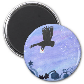 Owl And Pumpkin Patch 6 Cm Round Magnet