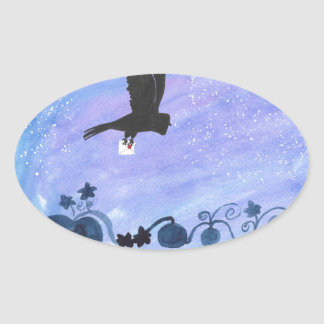 Owl And Pumpkin Patch Oval Sticker