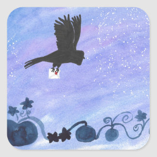 Owl And Pumpkin Patch Square Sticker