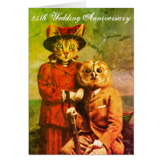Owl And Pussy Cat 25th Wedding Anniversary Card