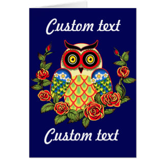 Owl and Roses Mexican style Greeting Card