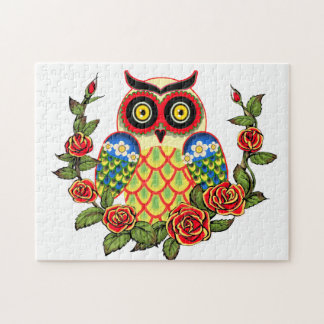Owl and Roses Mexican style Puzzles