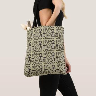 Owl Ankh Egyptian Hieroglyphs Crochet Print on Tote Bag