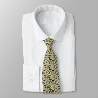 Owl Ankh Hieroglyphs Crochet All Over Printed Tie