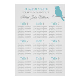 Owl aqua blue grey event seating table plan 1-9 poster