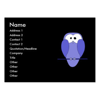 Owl at Night. Blue, black. Pack Of Chubby Business Cards