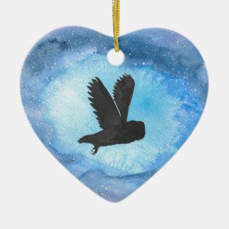 Owl At Night Ceramic Heart Decoration