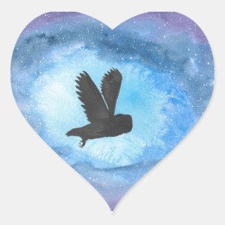Owl At Night Heart Sticker