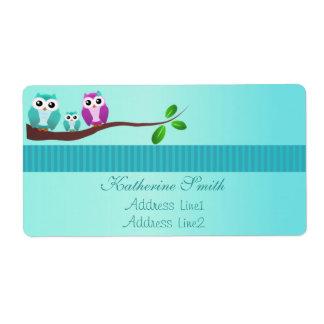 Owl Baby Shower Address Label Green