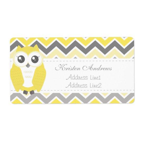 Owl Baby Shower Address Label Yellow Chevron