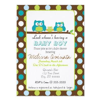 "Owl Baby Shower BOY Invites 6.5"" X 8.75"" Invitation Card"