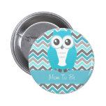 Owl Baby Shower Button Chevron Blue