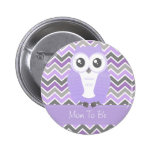 Owl Baby Shower Button Chevron Lilac