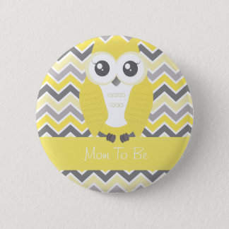 Owl Baby Shower Button Chevron Yellow
