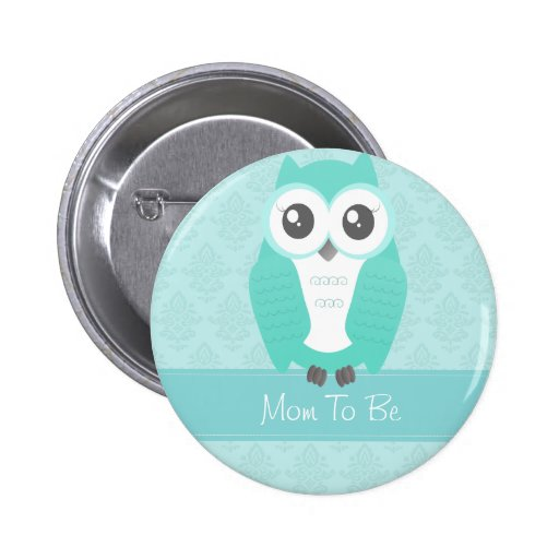 Owl Baby Shower Button Green
