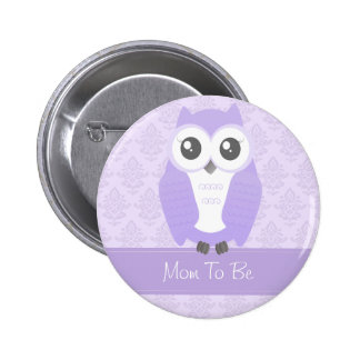 Owl Baby Shower Button Lilac