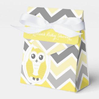 Owl Baby Shower Favor Box Yellow Chevron