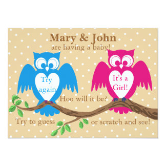 "Owl baby shower gender reveal 5.5"" x 7.5"" invitation card"