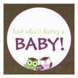 Owl Baby Shower | Girl >> brown, green & purple Invites