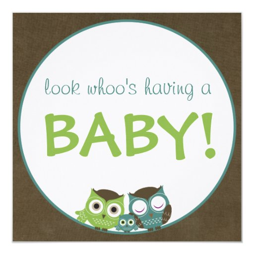 Owl Baby Shower   Green/Blue/Brown Boy 13 Cm X 13 Cm Square Invitation Card